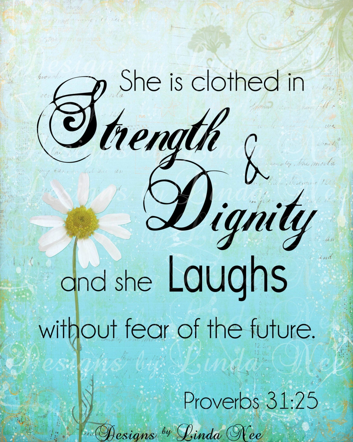 Verse She Is Clothed With Dignity: PROVERBS 31:25 Woman Bible Verse Printable Wisdom Wall Art