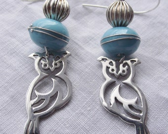 Earrings silver.owl..turquoise..