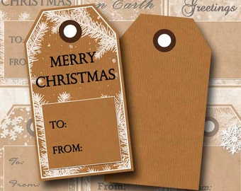 Digital Collage Sheet Kraft Christmas Tags Gift Tags Double-Sided Instant Download TG100