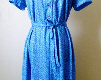 vintage geometric blue collared dress