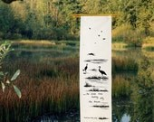 Silk Banner - Crane - Wetlands - Dream - Folk Poem - Haiku - scroll - Japanese - Gaden Decor - Windchime - wall hanging
