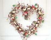 Kitchen heart shaped wreath -  red, pink, cream -  Spring home decor - Easter - laurelsbylaurie