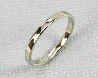 White Gold Wedding Band, 14K White Gold Skinny Ring, 2mm, Sea Babe Jewelry