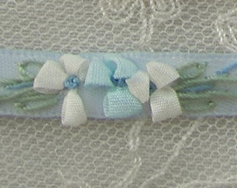 Hand Embroidered Blue Satin Ribbon Flower Trim Baby Doll Christening Gown