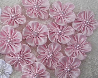 12pc Beaded Fabric Flower Applique Baby Doll PINK Satin Rbbon w Pearl Hair Bow