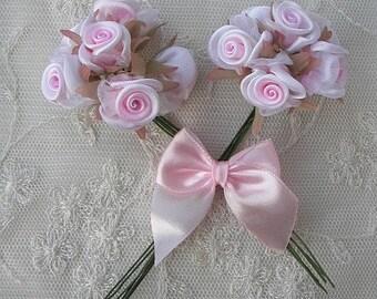 36p Pink White Wired Satin Organza Rose Flower Applique Bridal Wedding Bouquet