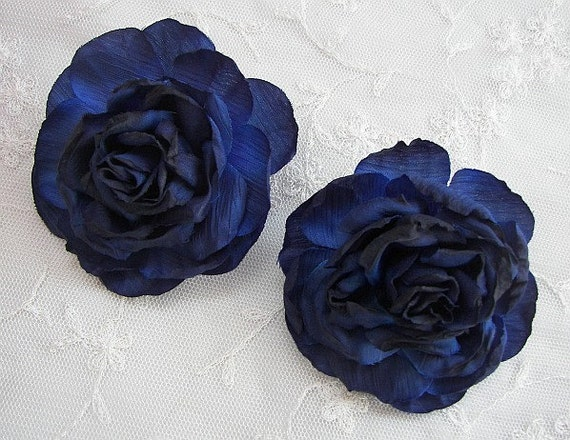 SALE  Cabbage Rose Fabric Flower Applique 2pc NAVY Blue Crinkle Victorian Hat Corsage