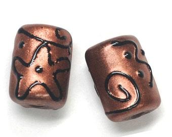 Glass Lampwork Bead Sets - Six Copper Pearl Surface w/Black Mini Kalera Beads 11204403