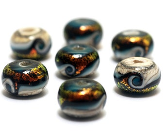 Handmade Glass Lampwork Beads - Seven Romantic Isle Waves Rondelle Beads 10411501