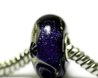 Large Hole Indigo Night Celestial Rondelle - SC10109-Handmade Glass Lampwork Beads