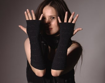 Charcoal Arm Warmers Bracelets - Pure Merino Mittens Fingerless Gloves Wrist Warmers Perfect Gift