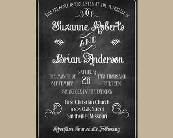 Chalkboard wedding invitation SAMPLE
