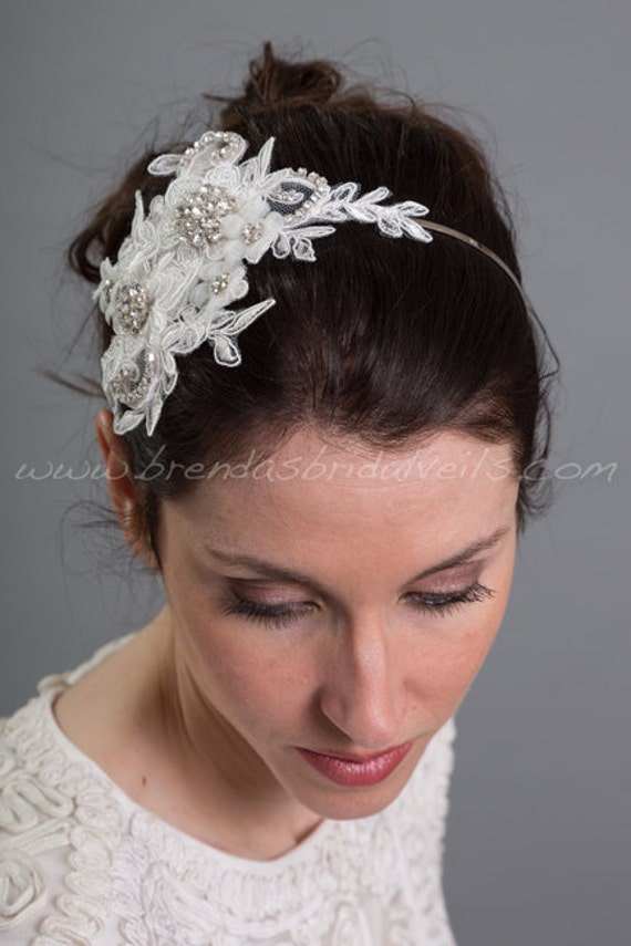 Light Ivory Lace Hair Clip, Bridal Hair Comb, Wedding Lace Headband, Birdcage Fascinator - LaSandra