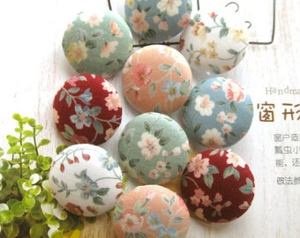 Fabric Buttons, Blue Pink Green White Red Floral Flower Fabric Covered Button, Wedding Flower Fridge Magnets, Flat Back, CHOOSE SIZE 10's