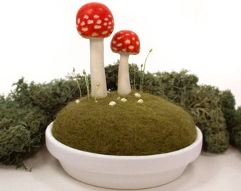 Sculpted Red Amanita Fly Agaric Forest Mushrooms in Wool Moss Made To Order - Pincushion Home Decor Nature Display