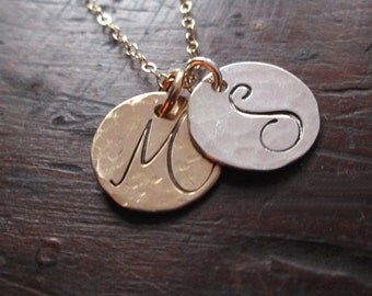 Initials Necklace - 14 kt Solid Gold and Sterling Silver Necklace - Personalized Necklace - Fine Jewelry - Gold Hand stamped Necklace
