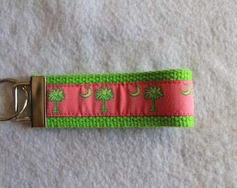 "South Carolina Palmetto Tree & Moon 3"" Key Fob in Pink and Lime Green"