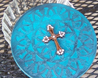Upcycled Vintage Vanity Trinket  Box Dish Turquoise Shabby Cowboy Rustic Cowgirl Cross