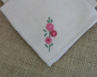 Vintage Cloth Fabric Napkins Set Linen Flowers Pink