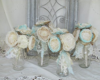 Burlap Bridesmaids Bouquets/ Fabric Bouquets, wedding bouquets, Alternative bouquets, Rustic bouquets, Rusic Wedding, Burlap Wedding