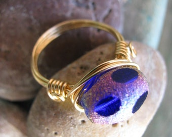 Titanium Cobalt Blue Polka Dot Glass and Gold Ring, Gold Wire Wrapped Ring, Size 7 Ring