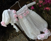 Crocheted Baby Onesie, Baby Girl Playsuit, newborn to 3 month old playsuit, Baby Girl Onesie, Baby Girl Sweater, Crochet Baby Booties, Photo