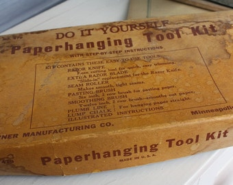 Vintage Do It Yourself Paper Hanging Tool Kit