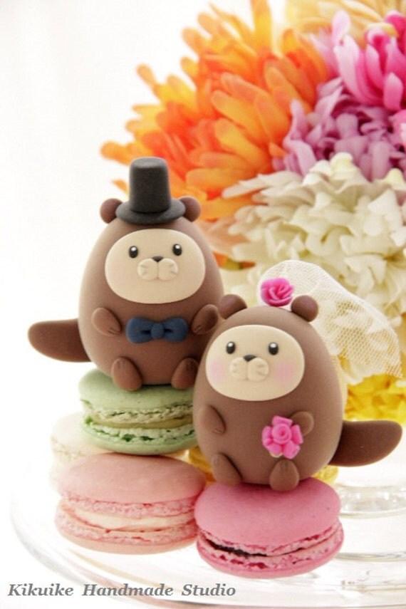 otter ocean theme Wedding Cake Topper---k615