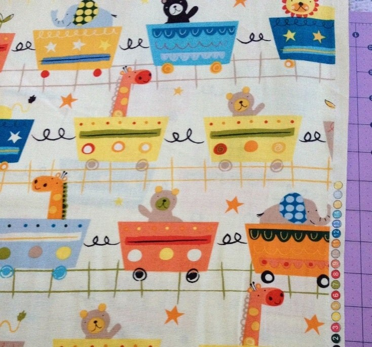 Circus train fabric by the yard by cutiepiecraftsupply on etsy for Train fabric by the yard
