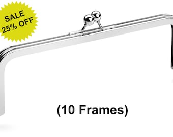 "10pcs - 8"" x 3"" Nickel Purse Frame with Standard Ball Clasp - Free Shipping (PURSE FRAME FRM-104)"
