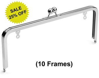 "10pcs - 10"" x 4"" Nickel Purse Frame with Ball Clasp and Chain Loops - Free Shipping (PURSE FRAME FRM-124)"