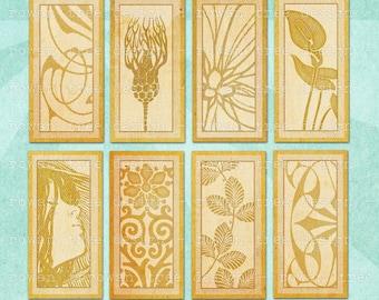 Digital Collage Sheet ECRU ART NOUVEAU 1x2in Domino Tile Abstract Ornamental - no. 0199