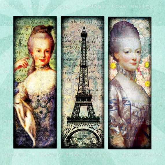 MARIE ANTOINETTE Digital Collage Sheet 1x3in French Glamour Microscope Slide - no. 0088