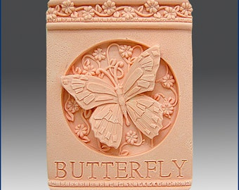 2D Silicone Soap/Polymer Clay/Cold Porcelain Clay/Plaster Mold - Butterfly Plaque - free shipping