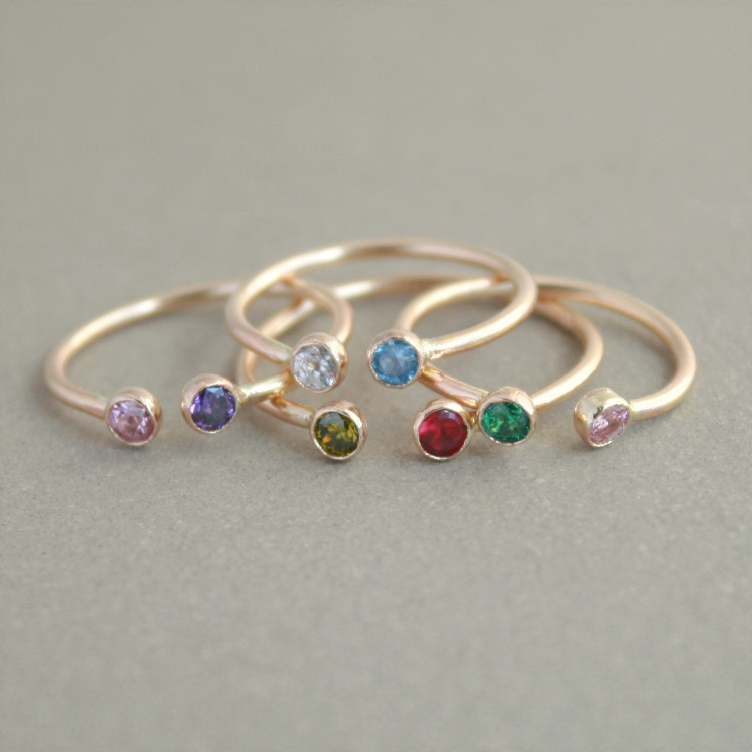 dual birthstone ring. GOLD. personalized two stone ring.