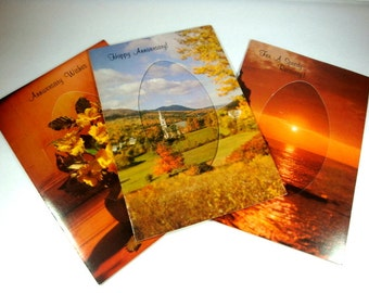 Set Of Three Vintage Greeting Cards, Speedy Recovery, Anniversary, Retro, Olympicard  (661-13)