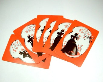 Vintage Cards, Set of 6, Orange and  Black, Silhouette, Playing Card, Game Card, Scrapbook Art,  (249-13)