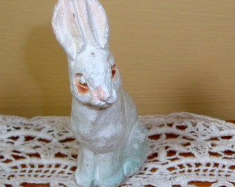 Vintage Chalk Rabbit, Small White Bunny, Figurine, Crafting, Mid Century Holiday Decoration, Easter    (1190-08)