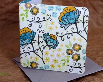 Blank Mini Card Set of 10, Petite Sunny Floral with a Contrasting Pattern on the Inside, Soft Gray Envelopes, mad4plaid