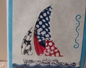 Sail Boat Iris Folded Card
