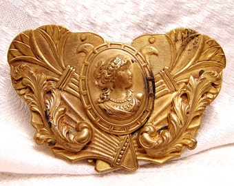Art Nouveau Brass Belt Buckle with Cameo and Unknown Maker Mark (J18)