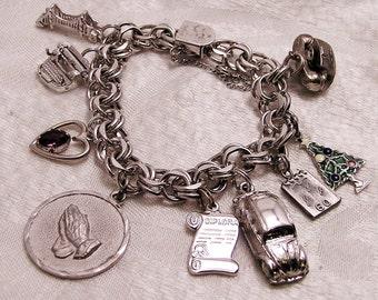 Vintage Sterling Charm Bracelet for Secretary Administrative Assistant 1960 (J109)