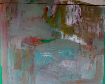 Soon The Green will Cover the Grey, Original abstract mixed media painting on canvas, large