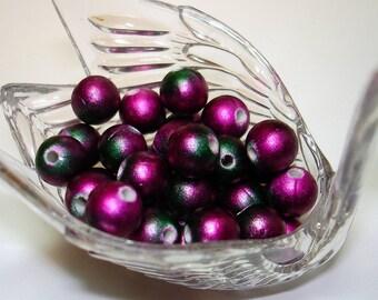 Purple Green Acrylic Round Beads (Qty 40) - B1653