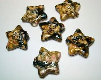 Brown Glazed Porcelain Star Beads (Qty 6) - B1688