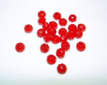 Medium Red Faceted Glass Rondelle Beads (Qty 25) - B1828