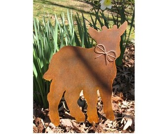 Goat Metal Garden Stake - Metal Yard Art - Metal Garden Art - Rusty - Rustic