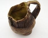 Wonky Yellow Mug, Hobbitware  Pottery, Rustic Tableware, Bark Texture, Wood Grain, Faux Bois - bazketmakr