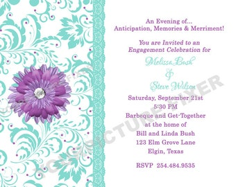 Lavender and Mint Gerber Daisy Wedding  Invitations
