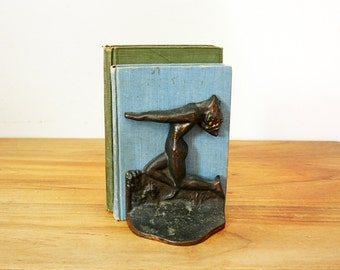 vintage 30s Art Deco Nude Human Metal Bookends